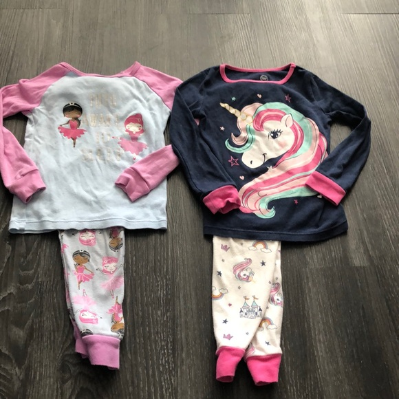 Size 2T Owls Cutest Unicorn Kittens and Puppies Toddler Girls Long Sleeve Sleepwear 4-Pc Pajama Set Unicorns